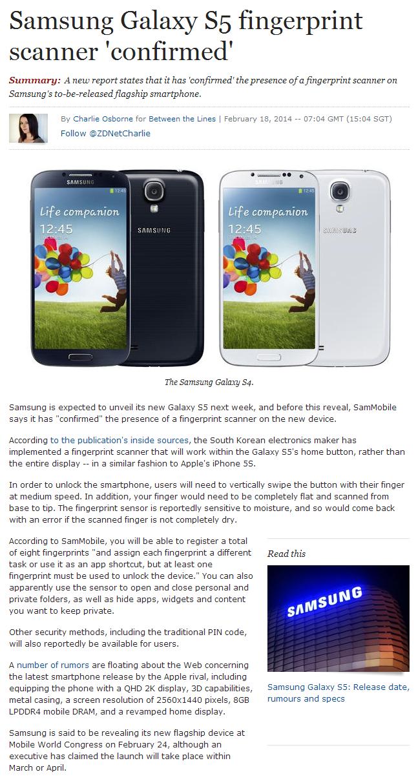 Samsung Galaxy S5 fingerprint scanner 'confirmed' | Sam's