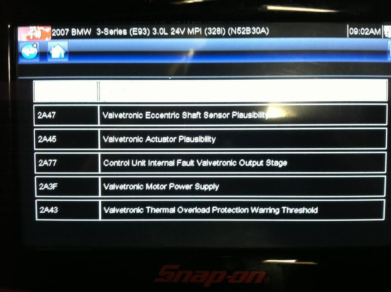 Eccentric Shaft Sensor Or Valvetronic Motor Failure