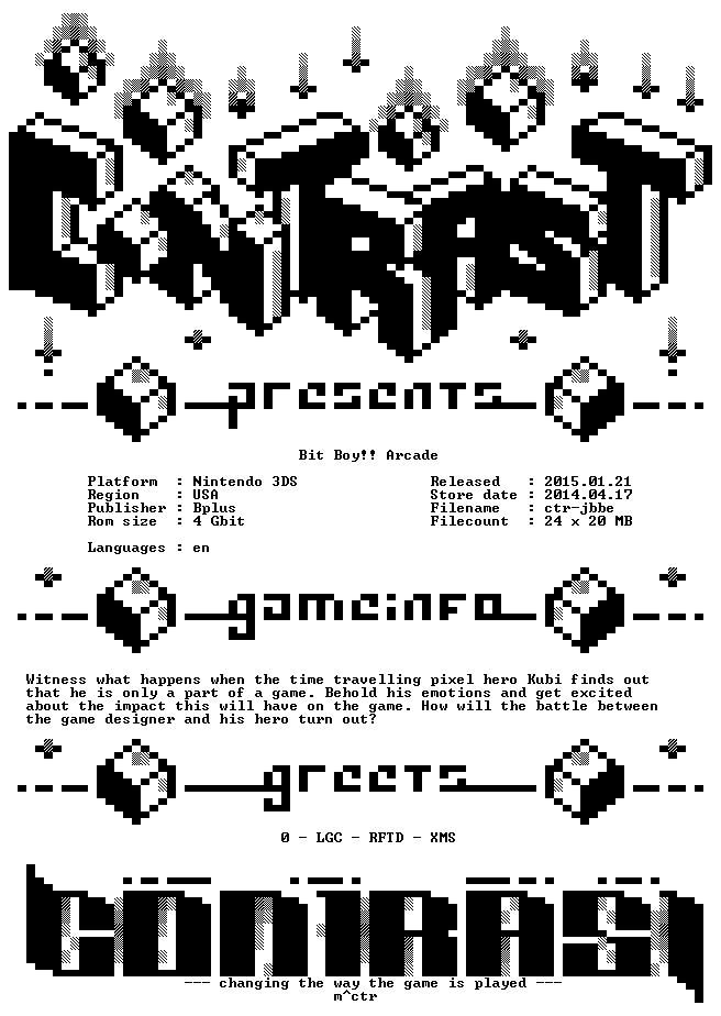 Bit Boy Arcade USA eShop 3DS-CONTRAST