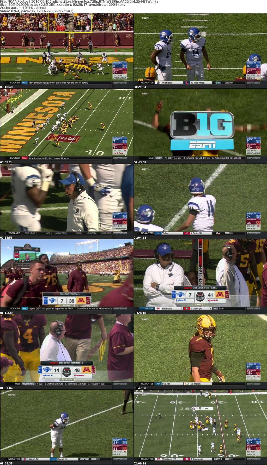 NCAA Football 2016 09 10 Indiana St vs Minnestoa 720p BTN WEBRip AAC2 0 H 264-BTW