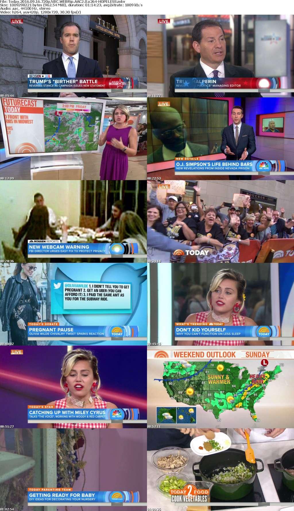 Today 2016 09 16 720p NBC WEBRip AAC2 0 x264-HOPELESS