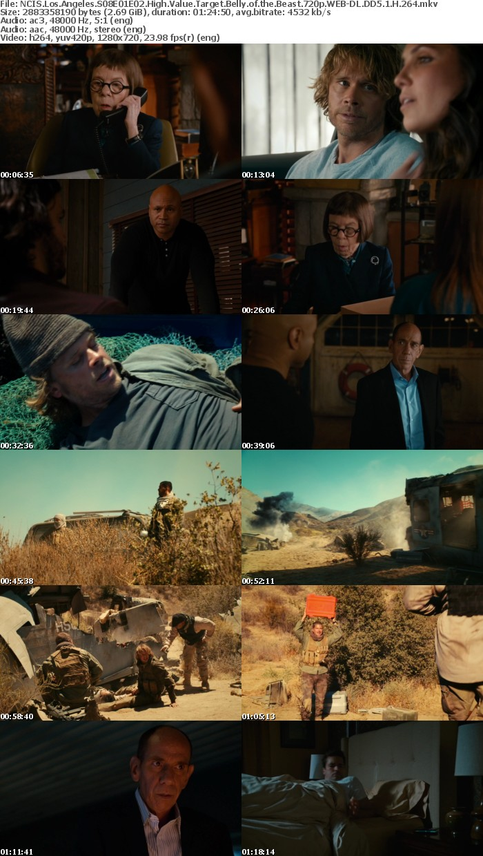 NCIS Los Angeles S08E01E02 High Value Target Belly of the Beast 720p WEB-DL DD5 1 H 264