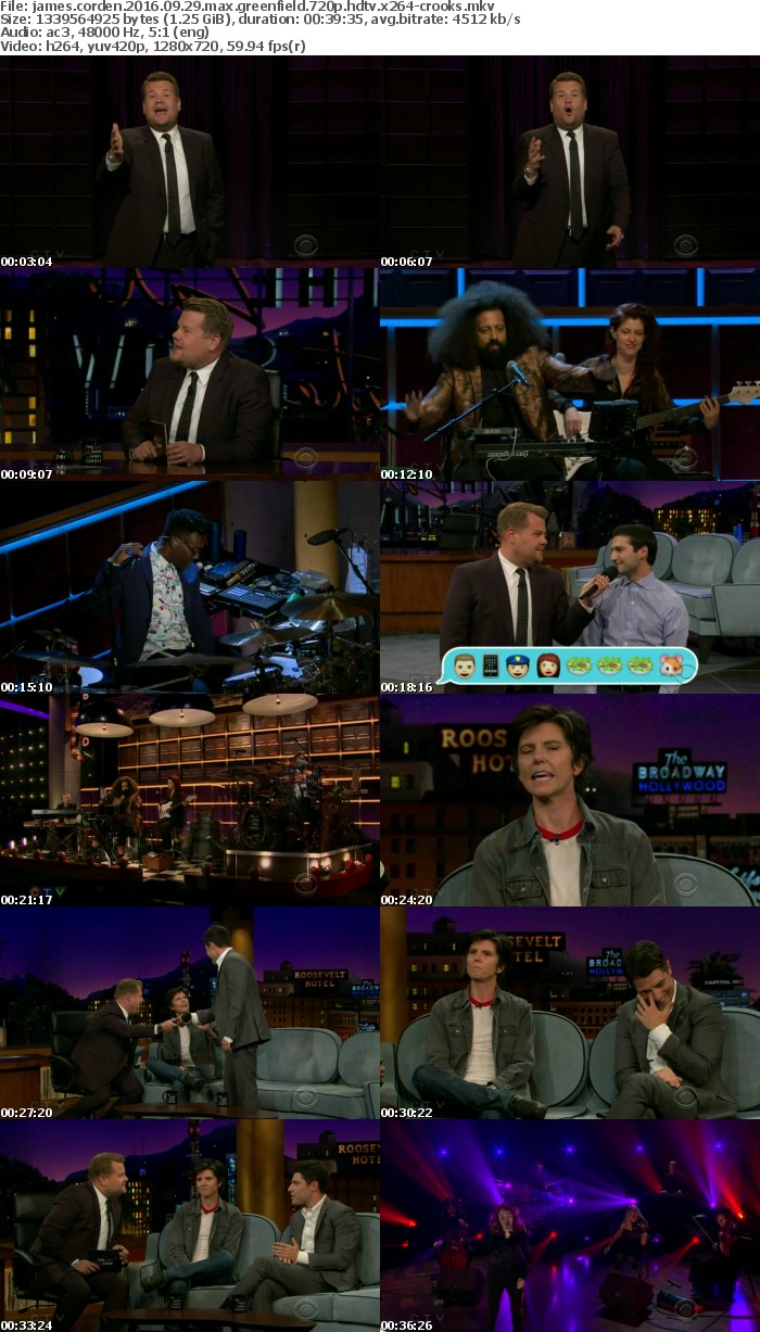 James Corden 2016 09 29 Max Greenfield 720p HDTV x264-CROOKS