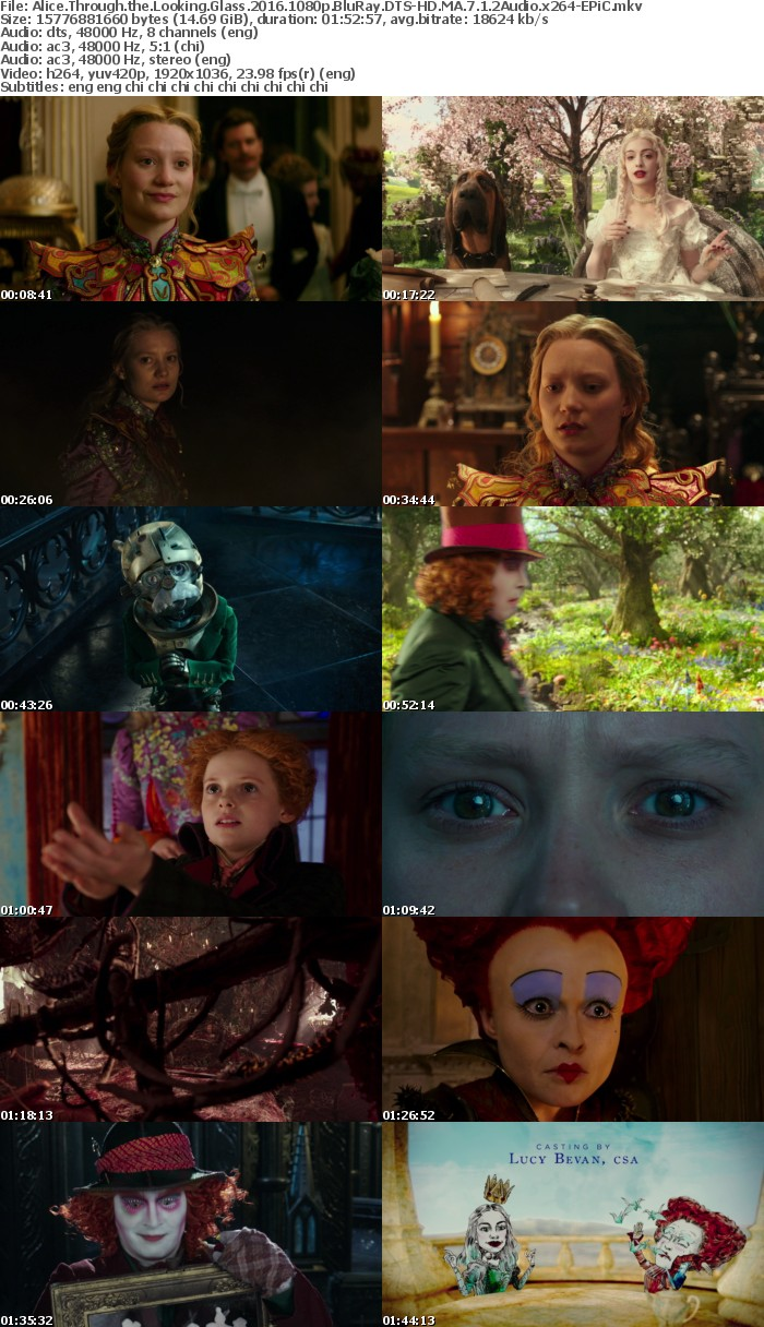 Alice Through the Looking Glass 2016 1080p BluRay DTS-HD MA 7 1 2Audio x264-EPiC