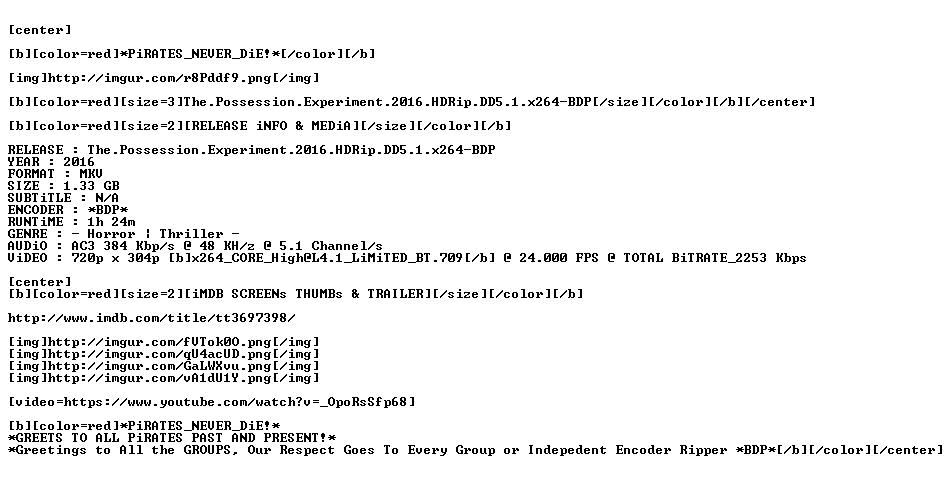 The Possession Experiment 2016 HDRip DD5 1 x264-BDP