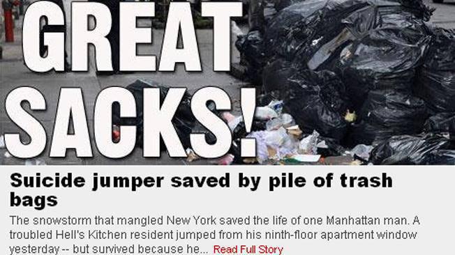 se quiso suicidar pero se salvo gracias a la basura