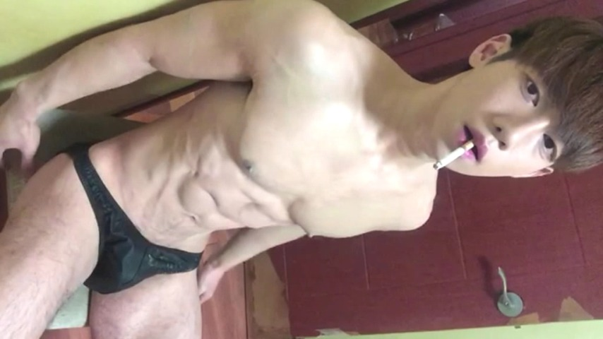 Asian hunk in shower cums