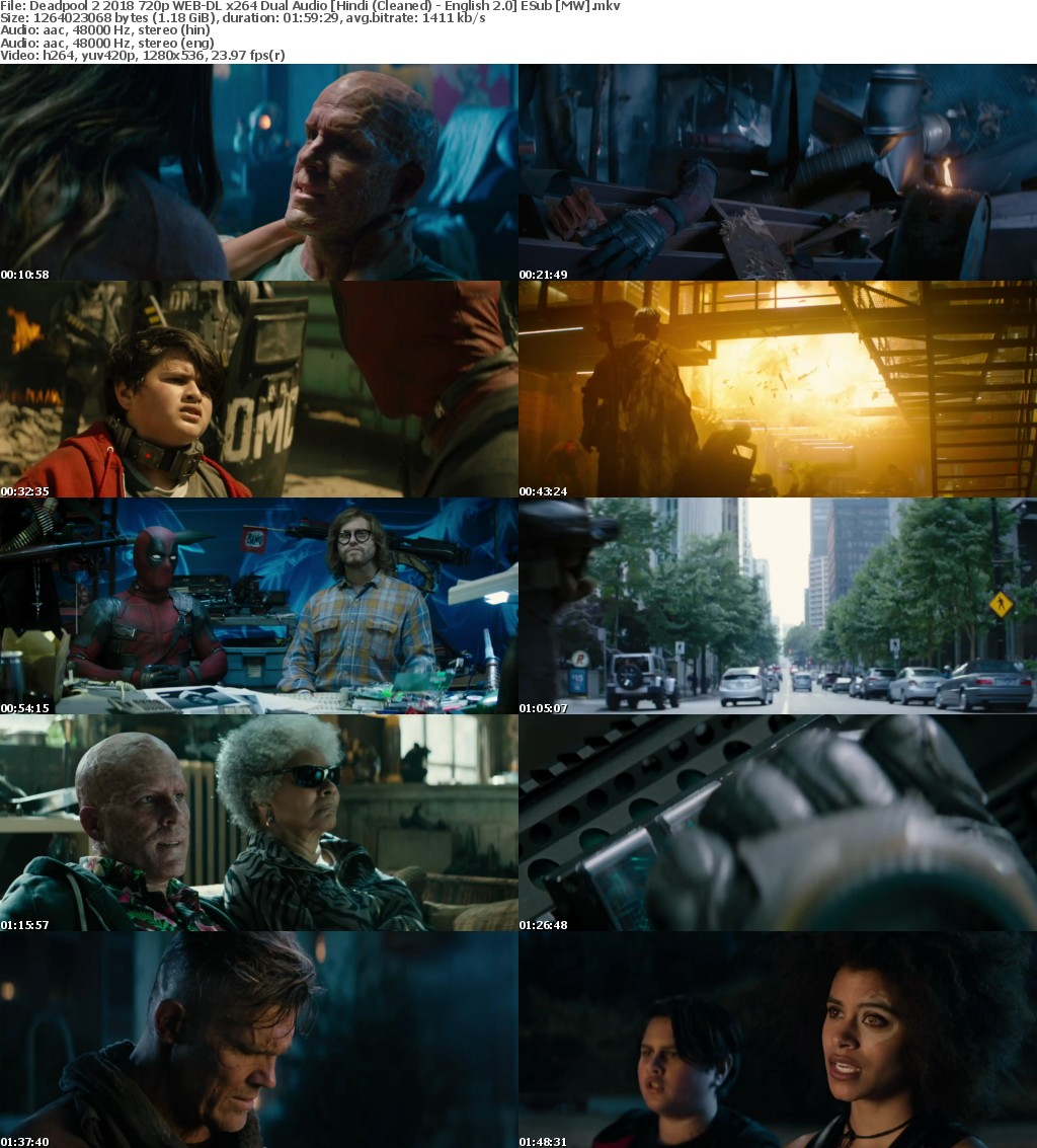 Deadpool 2 (2018) 720p WEB-DL x264 Dual Audio Hindi (Cleaned) - English 2.0 ESub MW