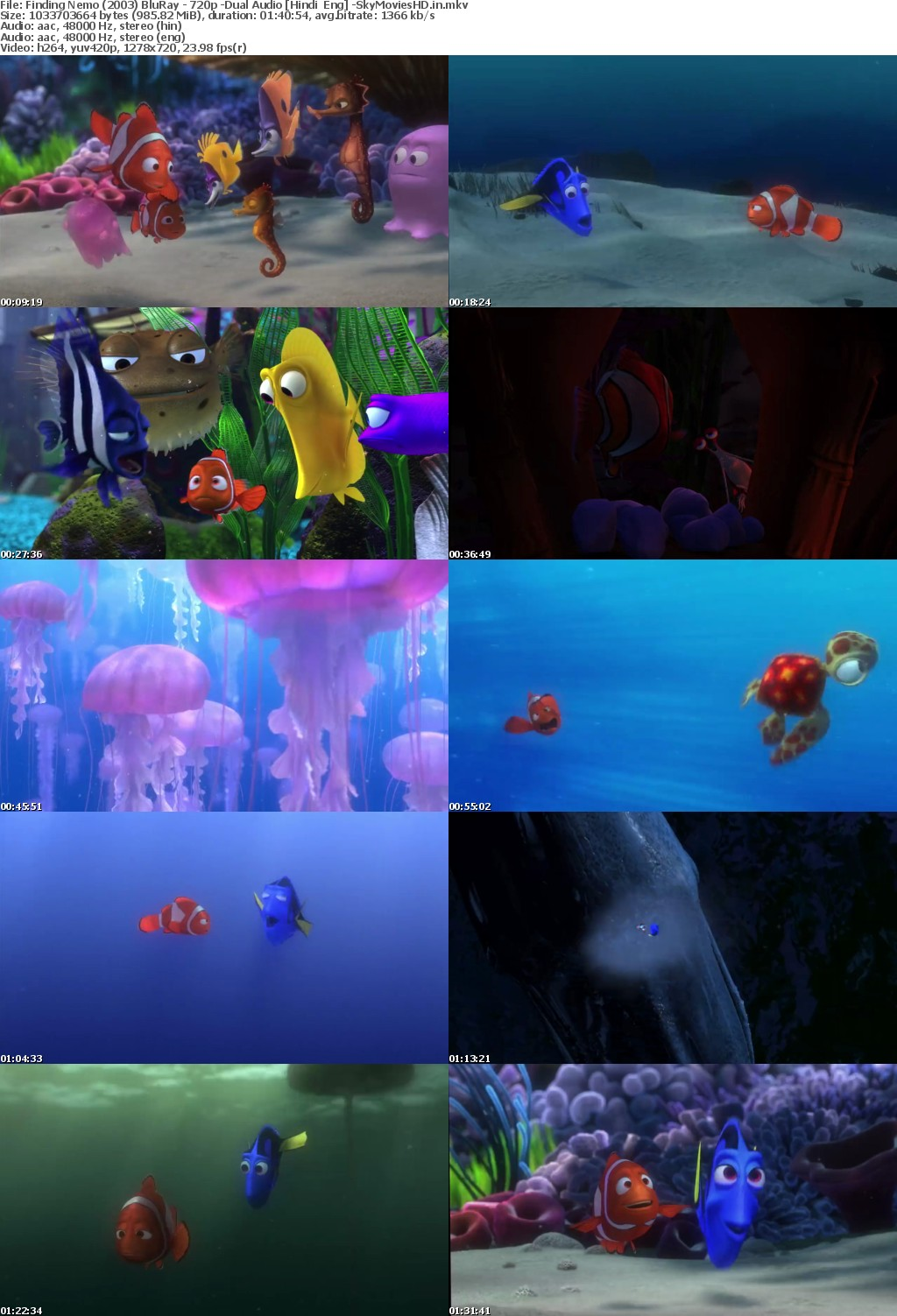 Finding Nemo (2003) BluRay 720p Dual Audio x264 Hindi + Eng 900MB -SM