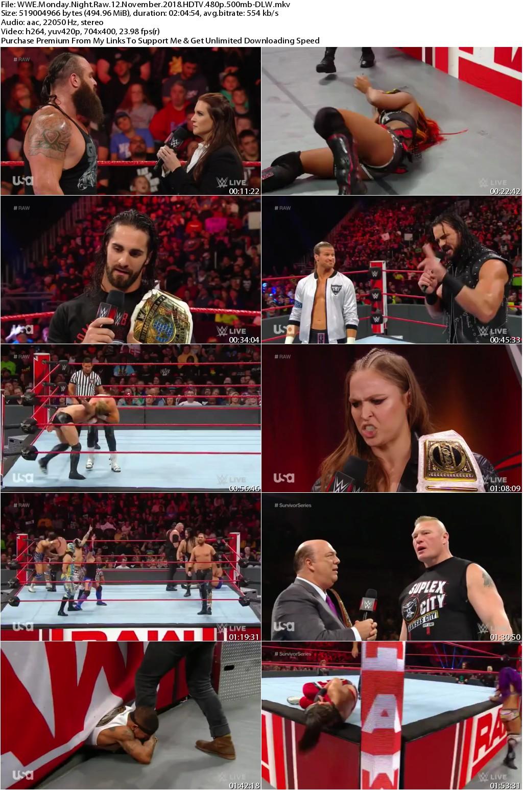 WWE Monday Night Raw 12 November 2018 HDTV 480p 500mb-DLW