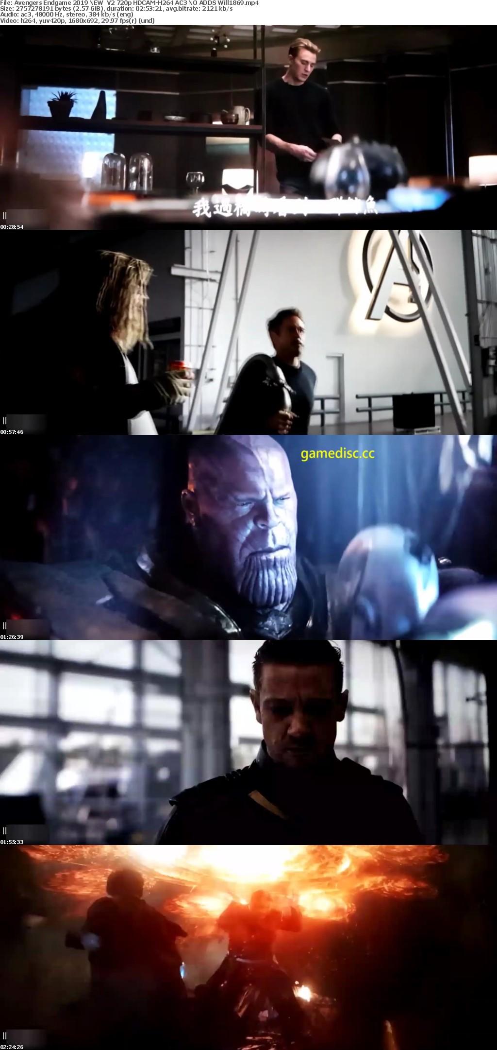 Avengers Endgame 2019 NEW V2 720p HDCAM-H264 AC3 NO ADDS Will1869