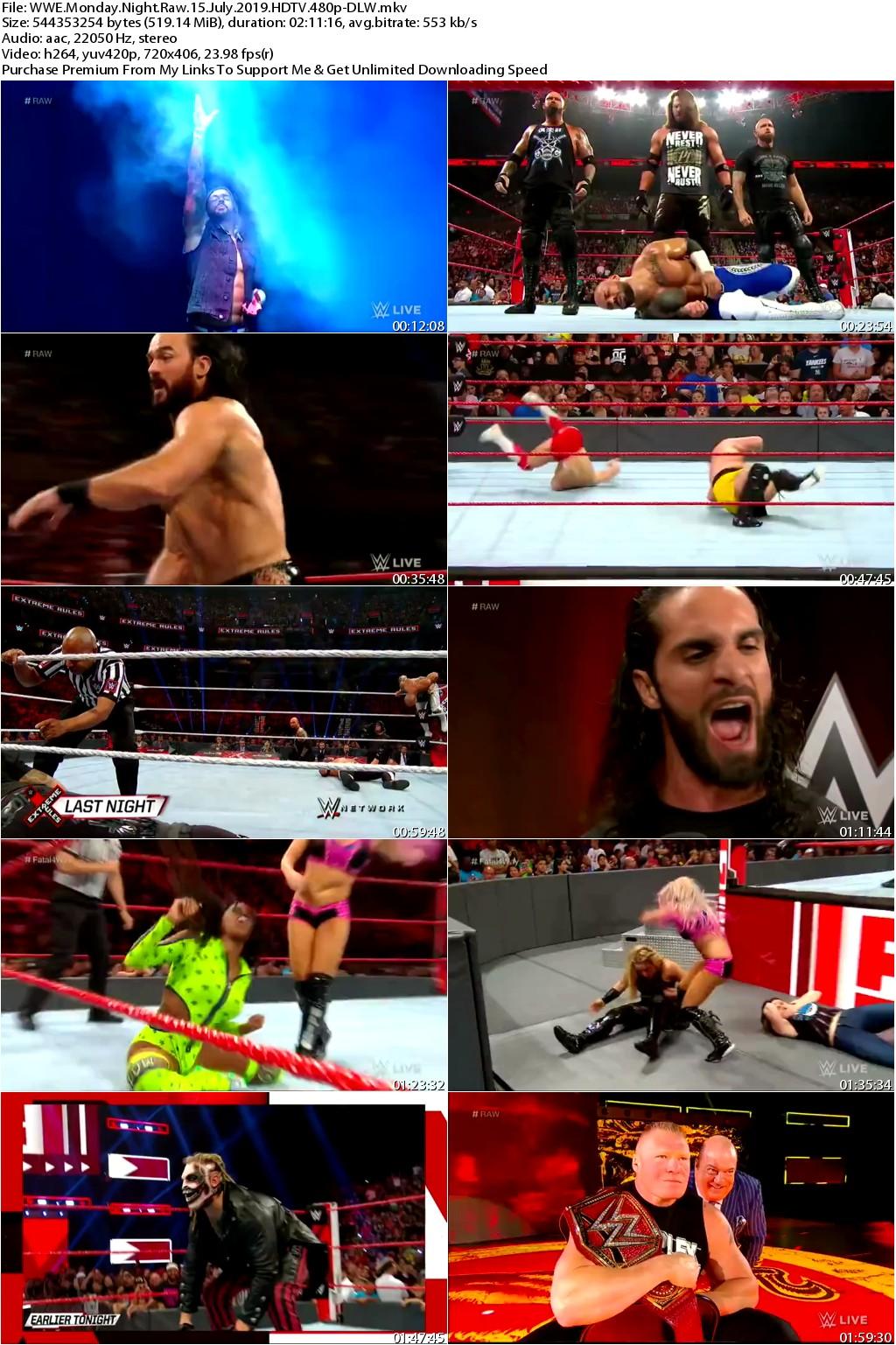 WWE Monday Night Raw 15 July 2019 HDTV 480p-DLW