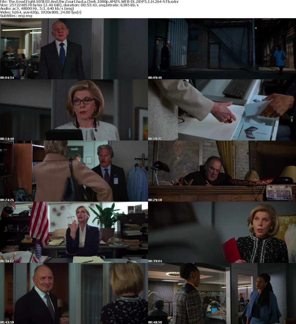 The Good Fight S05E03 And the Court had a Clerk 1080p AMZN WEBRip DDP5 1 x264-NTb