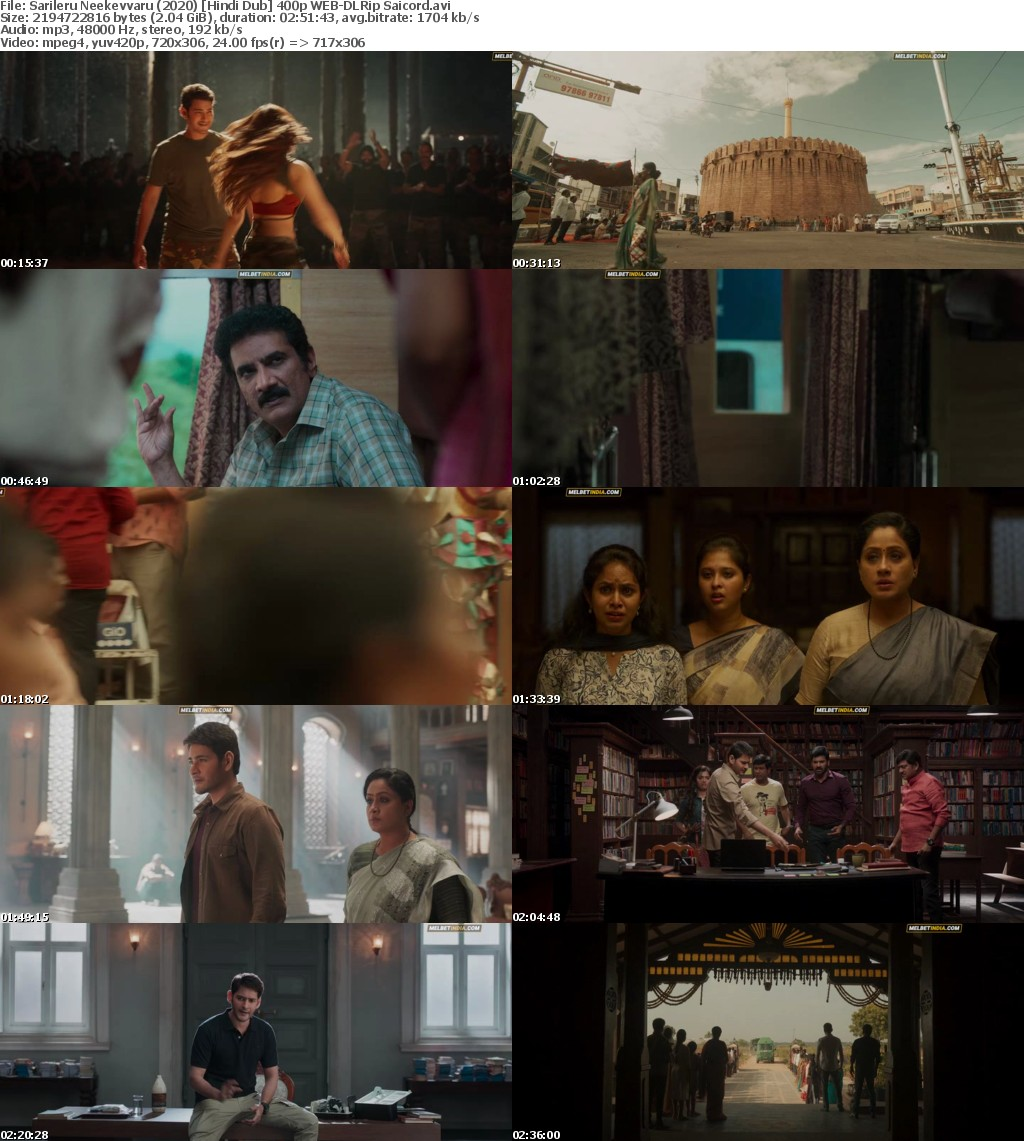 Sarileru Neekevvaru (2020) Hindi Dub 720p WEB-DLRip Saicord